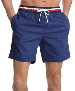 TOMMY HILFIGER Men Corey Geometry 7 inches Swim Trunks NEW NWT
