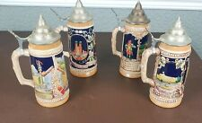 Handgemalt Steins 4pc Lot Germany Lidded Very Nice Condition