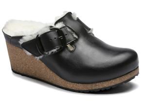 NIB Papillio by Birkenstock Fanny Big Buckle Leather Clog in Black 1017700