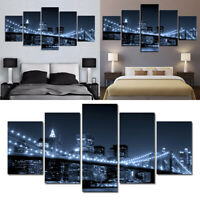 Modern-Unframed Picture City Bridge Canvas Wall Art Oil Paintings Home Decor