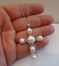 925 STERLING SILVER CROSS NECKLACE PENDANT W/ WHITE PEARLS/ DIAMONDS/18''
