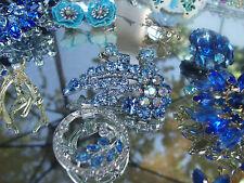 Vintage Jewelry Lot  BLUE~ RHINESTONES JULIANA LISNER AUSTRIA JUDY LEE  TRIFARI