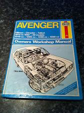 HAYNES WORKSHOP MANUAL HILLMAN/CHRYSLER/TALBOT AVENGER 1970 TO 1982