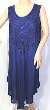 Riviera Sun Women Plus Size 2x Semi Sheer Indigo Blue asym Gypsy Sundress