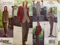 Vogue Calvin Klein 1236 Jacket Vest Shirt Skirt Pants & Scarf Pattern 14-16-18