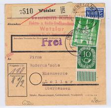 Bizone/Bauten, 97IIeg MiF 128, Paketkarte Wetzlar, 27.8.52