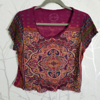 Lucky Brand Women's UPCYCLED Magenta Persian Rug Crop Top w/ Raw Hem | Size M