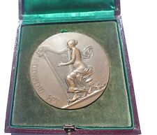 FRENCH / PARIS BRONZE ART NOUVEAU MEDAL BY A. RIVET - MUSIC AWARD / BOXED / M56