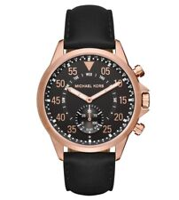 Michael Kors Access Gage Rose Gold Black Leather Hybrid Smartwatch 45mm MKT4007
