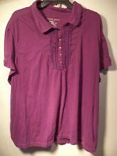 Just My Size Brand Womans Shirt , 5XL, Purple, ruffled collar