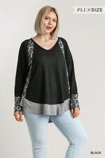 Umgee Animal Print Long Sleeve V-Neck Waffle Knit Tunic Top Plus Size