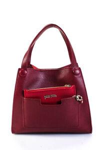Folli Follie Womens Small Faux Leather Satchel Handbag Red Burgundy LL19LL