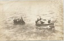 Boat Towing Lifeboat Full Of Sailors WWI Real Photo Postcard 1918