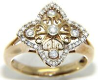Ladies 9carat 9ct yellow gold, unusual designed diamond ring. UK size N