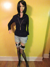Gothic Long Sleeve Black Top Blouse Laced Sleeves Cowl Neck With Gem Necklace