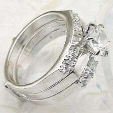 18K White Gold Silver 2.38 Ct Simulated Moissanite 3 Wedding Rings Set Sz 8.75