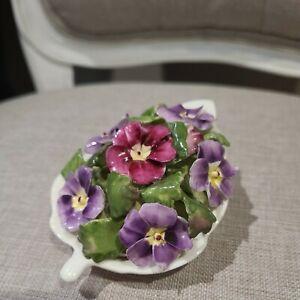 Purple/Pink Vintage Aynsley Posie April Primrose  Flowers In Leaf Basket