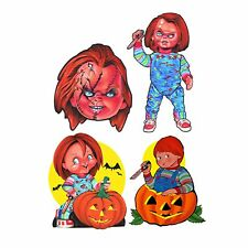 Set/4 Chucky Child's Play Vintage Style Static Posable Wall Decal Decor Designs