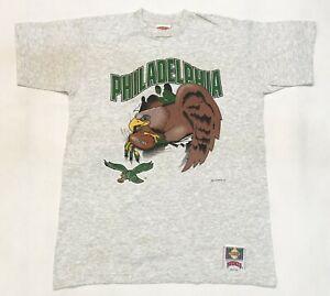 Vintage Nutmeg 1993 NFL Philadelphia Eagles Football T-Shirt Gray XL (M) Tee USA
