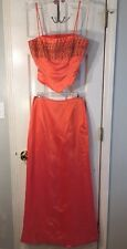 Awesome Deal!! Metallic Orange two-Piece Prom Dress W/detailed Bust By Niki S/6