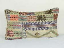 Vintage Turkish Handwoven Unique Pattern Kilim Lumbar Pillow Cover 12'' x 20''