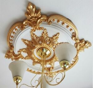 """Plaster Ceiling Rose Gold Victorian Floral Leaf 720mm / 28"""" Hand Made CR7G"""