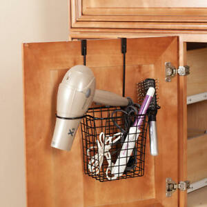 Over the Cabinet Hair Dryer Curling Iron Brush Holder Organizer Basket Metal