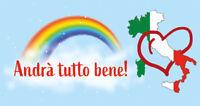 STRISCIONE Andrà tutto bene Italia BANNER PVC CON OCCHIELLI BANDIERA BALCONE