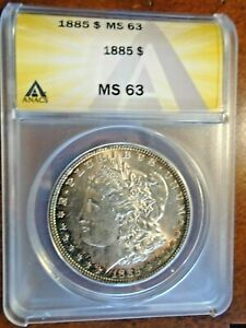 1885 Morgan Dollar, ANACS MS-63 Neon Rim Toned Gorgeous Coin