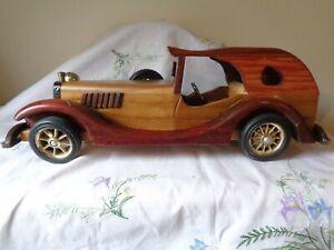 "Vintage wooden model car - 14.5"" long x 5"" high. Man cave toy"