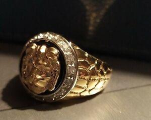 BAGUE CHEVALIERE TETE DE LION OR 18 carats 750