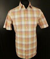 HUGO BOSS Mens Casual Shirt L LARGE Short Sleeve Regular Check Cotton