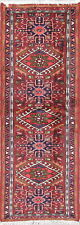 Vintage Geometric Burgundy Tribal Gharajeh 6ft Runner Rug Oriental 2'x6'