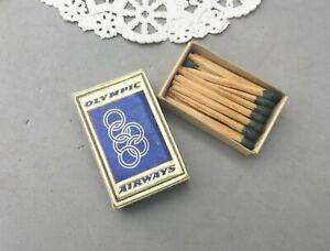 Matchbook Olympic Airways Vintage Matchbox Wood Made Sweden Gold Foil Airline