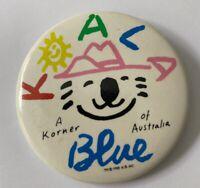 Vtg 80s Koala Blue Pin Button Badge Australia Bear 1984 Olivia Newton-John