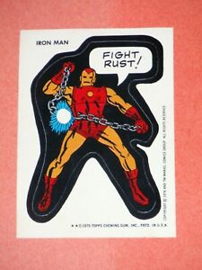 1974 1975 TOPPS MARVEL SUPER HEROES STICKERS IRON MAN! FIGHT RUST! AVENGERS!