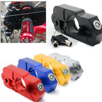 Motorcycle Handlebar Grip Brake Lever Lock Anit Theft Security Caps Lock Blue