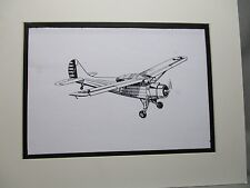 Stinson L 1 Vigilant plane   artist pen ink drawing 1964 New York Worlds Fair