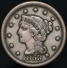 More details for 1853 | u.s.a. braided hair one cent | copper | coins | km coins