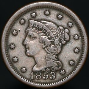 1853   U.S.A. Braided Hair One Cent   Copper   Coins   KM Coins