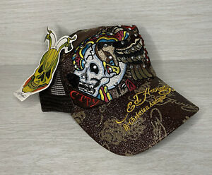 NWT Ed Hardy By Christian Audigier NEW YORK Brown Trucker Mesh Hat Cap Bling!