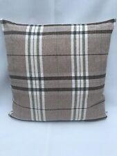 """18""""45cm Cream Tartan Check Green Brown Woven Cushion Cover Handmade Zip"""