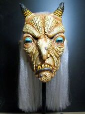 Demon Occult Ritual Goat Witch Full Head Latex Halloween Mask w/ Hair