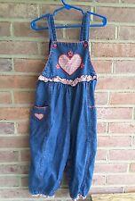 vintage Avon style overalls denim gingham heart size 4T 100 % cotton