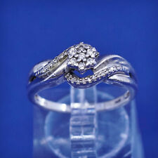 Size 7, vintage Sterling silver handmade ring, 925 with genuine diamond