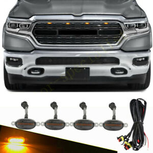 4x For Ram 1500 2012-2021 Smoke Front Grille LED Amber Light Raptor Style Cover