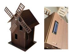 Solar Windmühle Deko Windrad Mühle Holz mit Solarpanel Bausatz 25cm bzw. 31cm