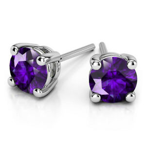 1.00 Ct VVS1 Round Cut Solitaire Amethyst Earring Stud 14K Real White Gold Studs