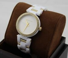 NEW AUTHENTIC MICHAEL KORS DELRAY GOLD WHITE CRYSTALS WOMEN'S MK4315 WATCH