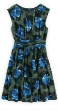 NWT Boden Green Blue Floral Cap Slv Pleat Fit Flare Cocktail Dress US Size 16L